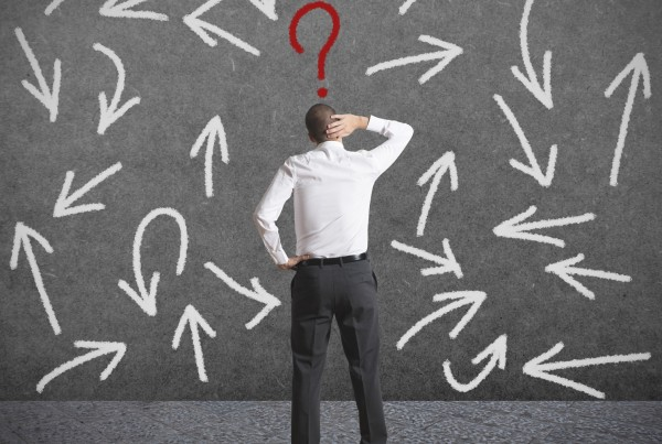 Concept of difficult choices of a businessman