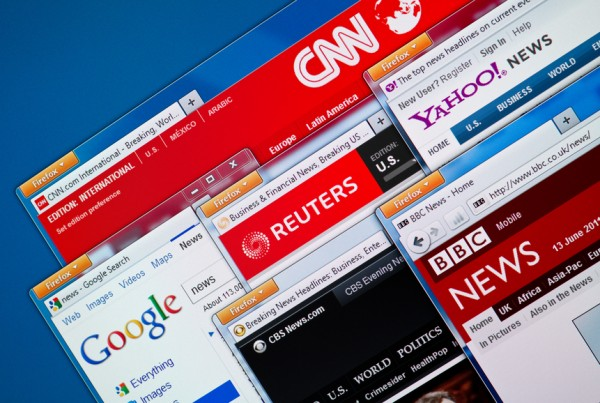 Kiev, Ukraine - June 13, 2011 - Top news web sites - CNN, Google News, Reuters, Yahoo News, BBC and CBS News in Firefox browsers on a computer screen.