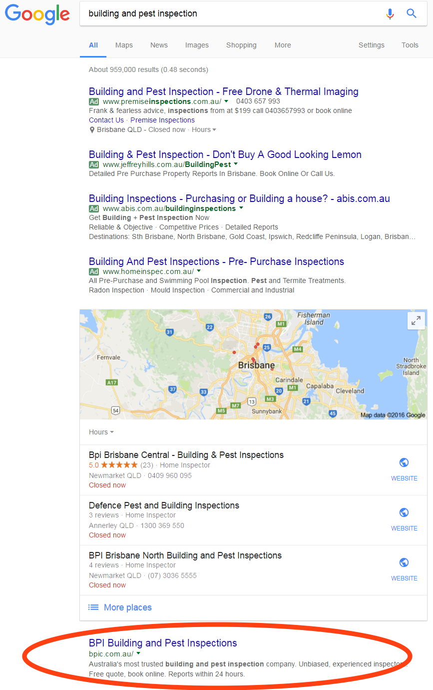desktop building and pest inspection ranking