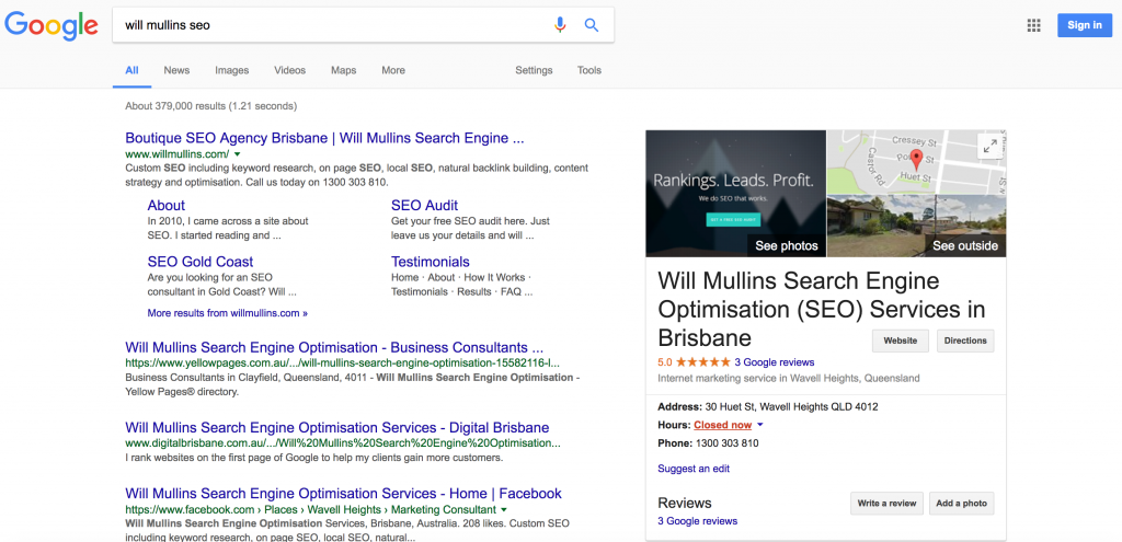will mullins google my business page